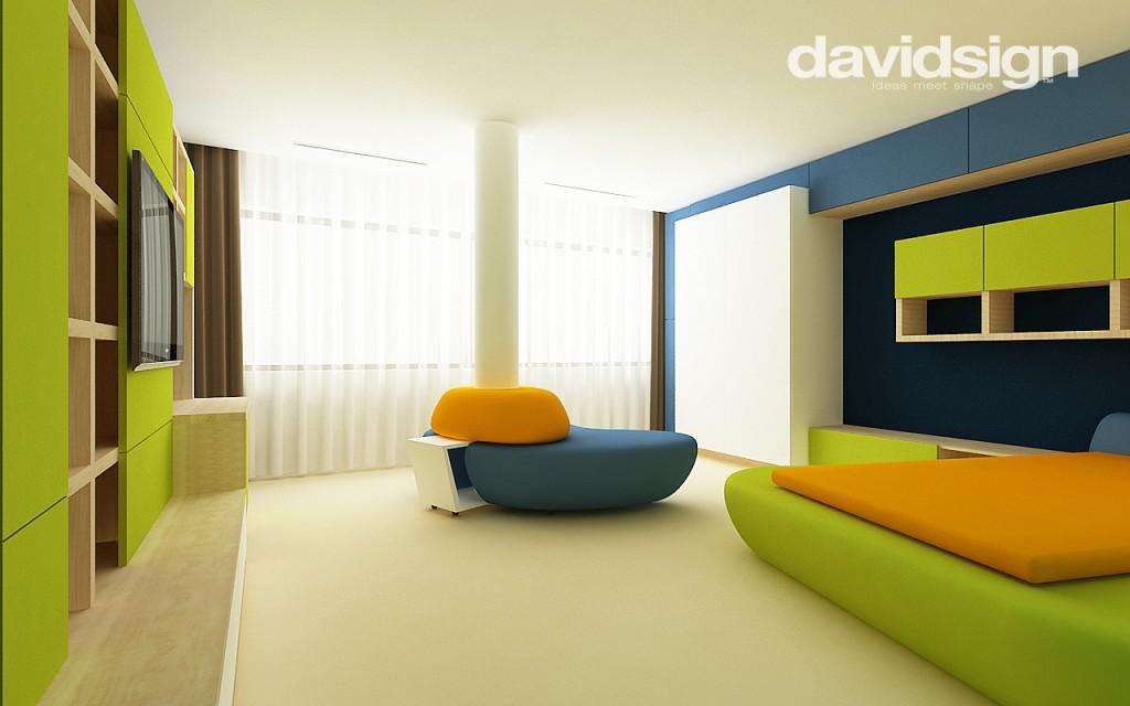Camera copii verde albastru