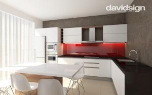 design bucatarie alb cu rosu