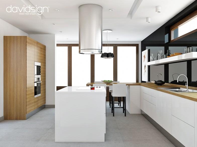 Bucatarie moderna alb-negru, lemn